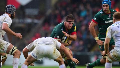 Brad Thorn in action for Leicester against Saracens on Sunday