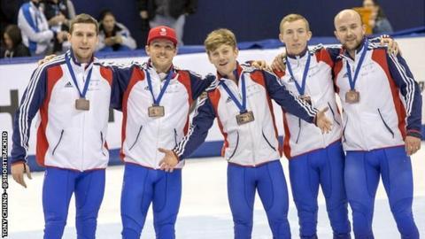 The British short track speed skating team