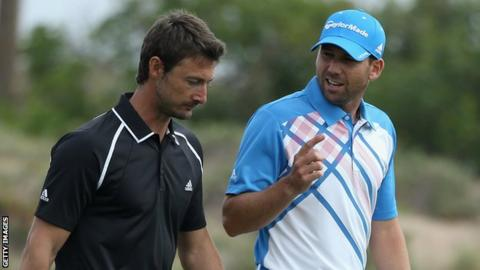 Juan Carlos Ferrero (left) and Sergio Garcia