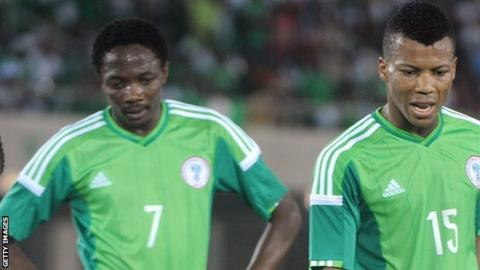 Nigeria players look dejected during the match against South Africa