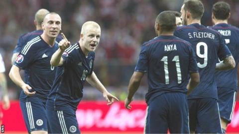 Steven Naismith celebrates scoring against Scotland with Ikechi Anya