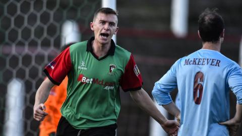 Jay Magee was on target for Glentoran against Institute at the Oval