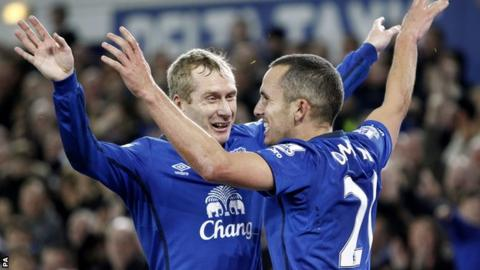 Tony Hibbert and Leon Osman
