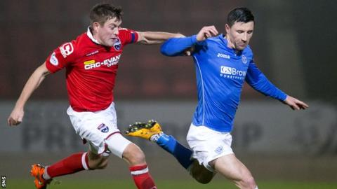 St Johnstone's Michael O'Halloran (right) scored the second as Saints beat Ross County.