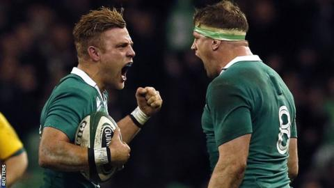 Ian Madigan and Jamie Heaslip celebrate Ireland's win over Australia