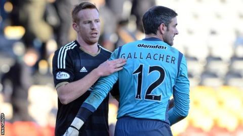 Aberdeen striker Adam Rooney beat Paul Gallacher from the penalty spot at Firhill