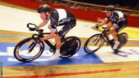 Mark Cavendish (right) and fellow Omega Pharma-Quick-Step rider Iljo Keisse