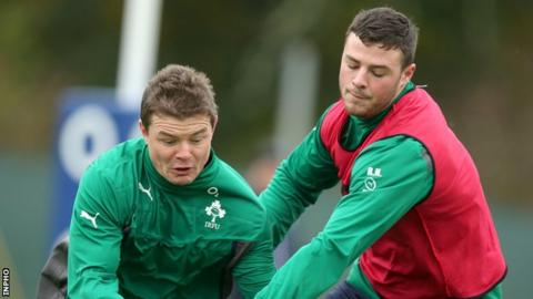 Robbie Henshaw with Brian O'Driscoll at an Ireland training session last year
