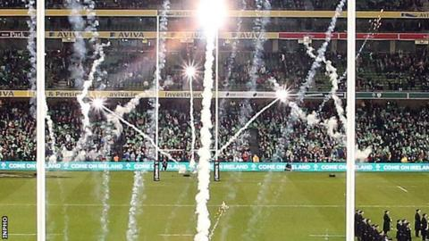 Fireworks went off before the start of the Ireland v Australia game at the Aviva Stadium