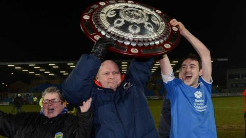 Linfield beat Crusaders on penalties to win the County Antrim Shield final in March - a victory which gave David Jeffrey his 31st trophy success as manager of the Windsor Park club