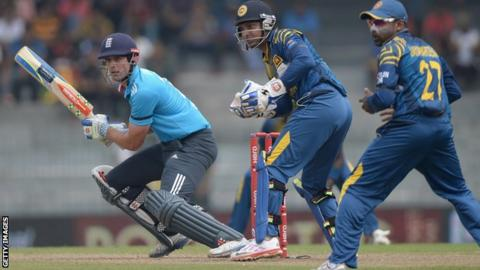 England captain Alastair Cook bats during the second ODI match between Sri Lanka and England