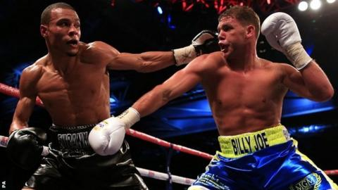 Chris Eubank Junior (left) in action against Bradley Joe Saunders