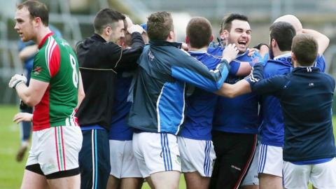 The celebrations begin for St Peter's of Warrenpoint after their 1-14 to 1-07 win over Monaghan club Inniskeen