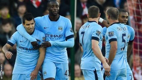 Man City players celebrate a goal against Southampton