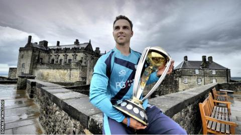 Scotland captain Preston Mommsen with the Cricket World Cup