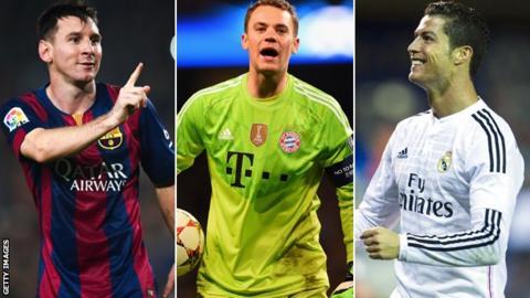 Lionel Messi, Manuel Neuer and Cristiano Ronaldo