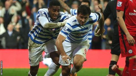 Charlie Austin celebrates scoring against Leicester