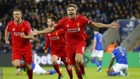 Liverpool captain Steven Gerrard celebrates scoring against Leicester