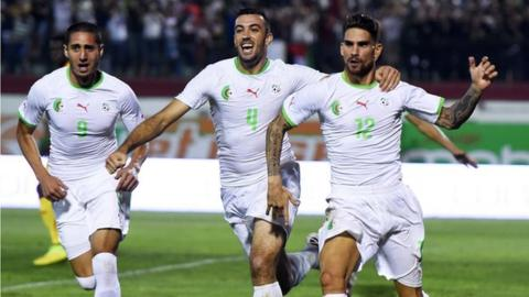 Algerian players celebrating