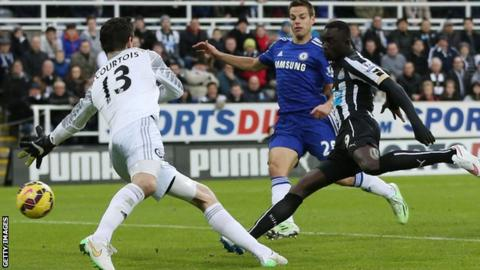 Newcastle striker Papiss Cisse puts his side in front against Chelsea