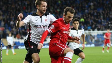 Cardiff City's Adam Le Fondre (R) played for Rotherham between 2009 and 2011 scoring 58 goals in 105 appearances
