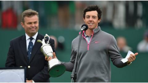 Rory McIlroy holds aloft the Claret Jug after sealing the first of his two major victories in 2014 at the Open Championship at Hoylake