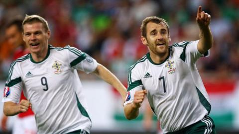 Niall McGinn was one of the goalscorers as Northern Ireland began their Euro 2016 qualifying campaign with a 2-1 win over Hungary in Budapest