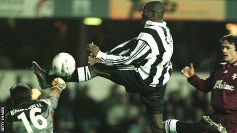 Faustino Asprilla in action for Newcastle
