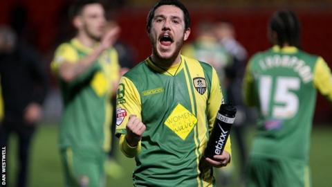Liam Noble celebrates after Notts County's win over Doncaster Rovers