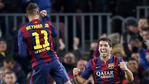 Barcelona forward Neymar celebrates scoring against Paris St-Germain in the Champions League