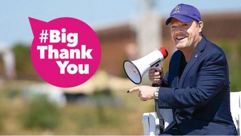 graphic with Eddie Izzard and a mega phone with #Big Thank You in a pink voice bubble