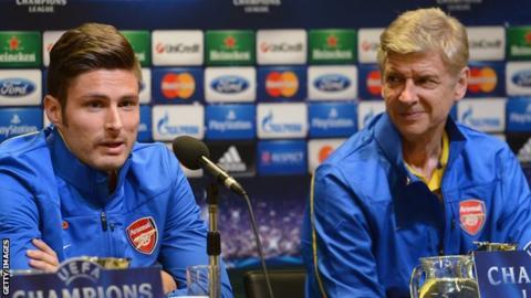 Olivier Giroud (left) and Arsene Wenger