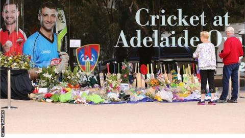 Floral tributes to Phillip Hughes at the Adelaide Oval