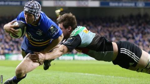 Leinster's Isaac Boss scored the opening try in the match against Harlequins