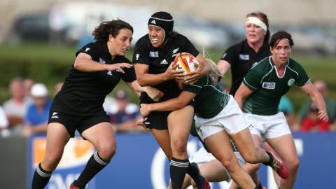 Ireland's women's rugby team caused a major upset by beating New Zealand in the Women's Rugby World Cup on their way to finishing fourth in the competition. Their 17-14 victory in Marcoussis inflicted New Zealand's first defeat in a World Cup for 23 years. The Irish women lost 25-18 to hosts France in the third-place match.