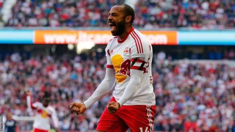 Thierry Henry celebrates at New York Red Bulls