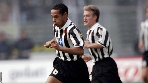 Thierry Henry of Juventus in action during the Italian Serie A match against Udinese on 14th March 1999