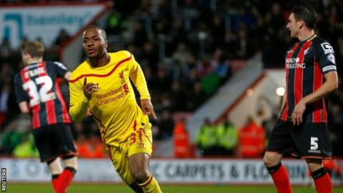 Raheem Sterling celebrates his second goal against Bournemouth
