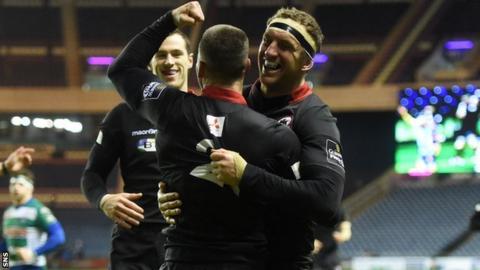 Grayson Hart celebrates scoring against Treviso