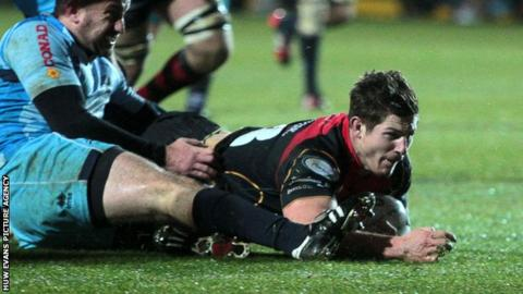 Ross Wardle crashes over for the Newport Gwent Dragons' opening try against Zebre