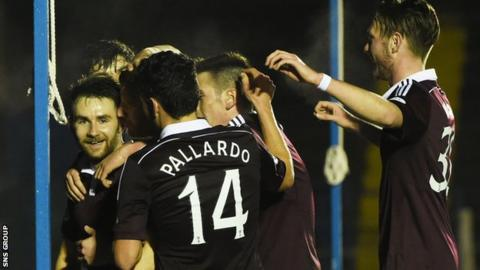 Hearts opened the scoring at Central Park on 25 minutes
