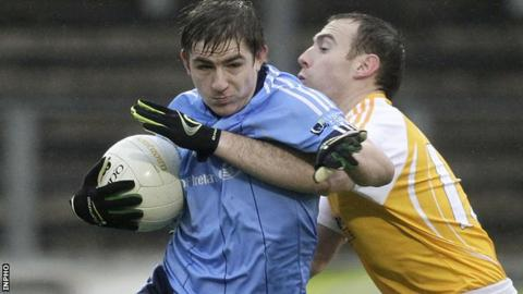 Dwayne Quinn in action for UUJ against Antrim in the 2013 McKenna Cup