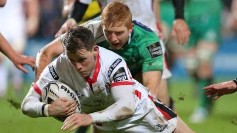 Craig Gilroy scores his first-half try at Ravenhill