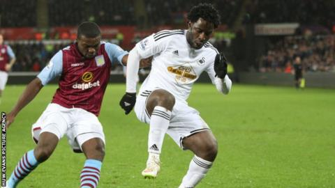 Wilfried Bony did not score in the win over Aston Villa but is still Swansea's leading scorer this season with eight goals