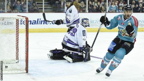 Adam Keefe celebrates after scoring against Braehead Clan