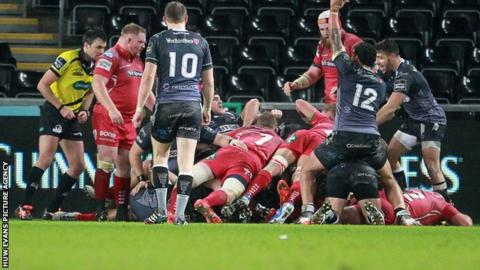 Referee Marius Mitrea awarded Ospreys a try from this driving maul