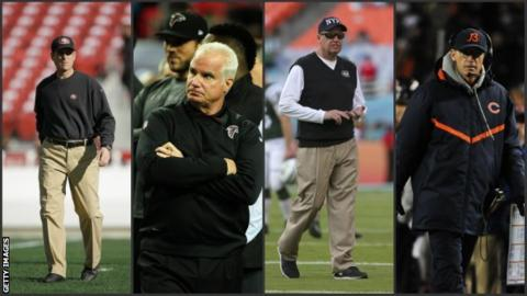 Jim Harbaugh, Mike Smith, Rex Ryan and Marc Trestman