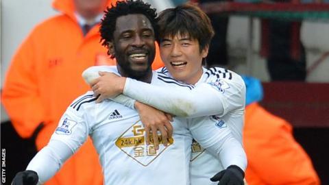 Wilfried Bony and Ki Sung-Yueng