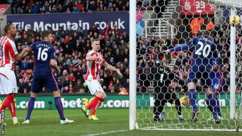 Ryan Shawcross scores for Stoke