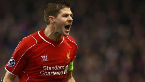 Steven Gerrard celebrates while playing for Liverpool
